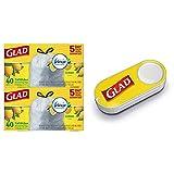 Glad OdorShield Tall Kitchen Drawstring Trash Bags - Febreze Lemon Scent - 13 Gallon - 40 Count - (Pack of 2) + Glad Dash Button