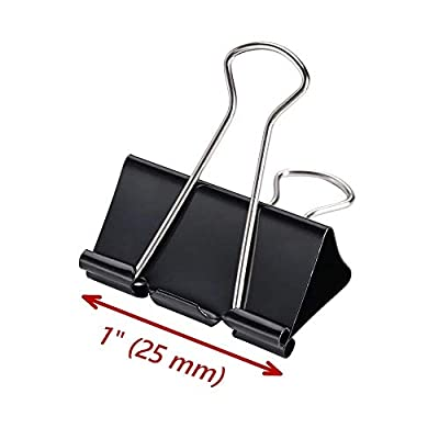 Binder Clips 1-inch, Medium Paper Clamps, Black 96/Box, Seaside Supply