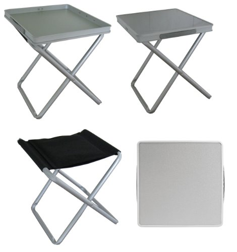 - Ming's Mark TA-8119 16X16X18 Aluminum 4 In 1 Folding Table/ Stool/Footrest/Tray