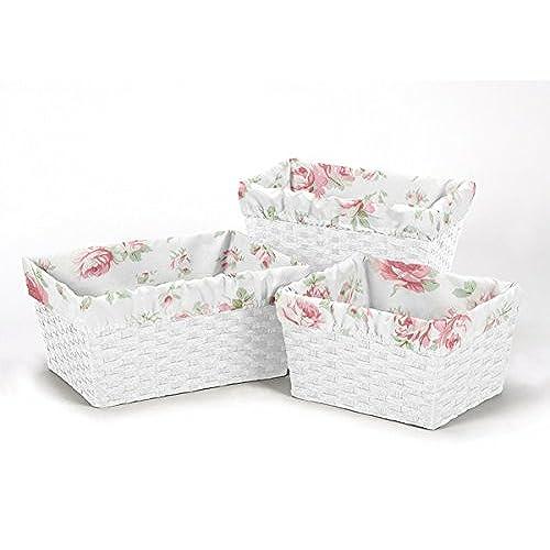 Sweet Jojo Designs 3 Piece Fits Most Basket Liners For Rileyu0027s Roses  Bedding Sets