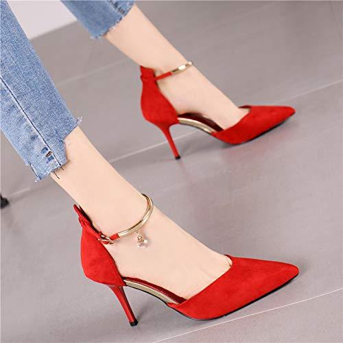 Con Solos Color Rosa Palabra Puntiagudo Rhinestone Zapatos Hebilla Hrcxue De Temperamento Estilete Corte Tacones Elegante Altos Femenino Rojo La 6AxpqRfwZ