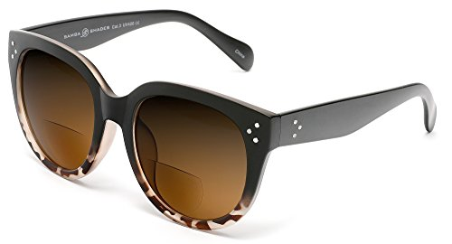 (Samba Shades Bi-Focal Sun Readers Oversized Round Audrey Hepburn Sunglasses Matte Black Demi Brown 2.25 Power)