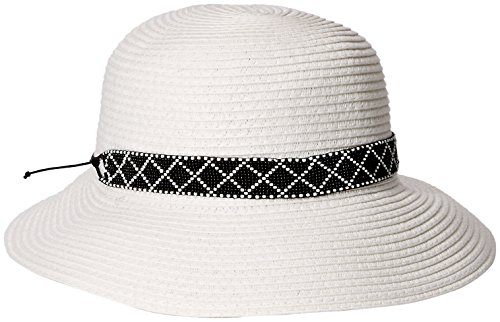 Physician Endorsed Women's Diamante Asymmetrical Brim Hat with Beaded Trim, White, One Size