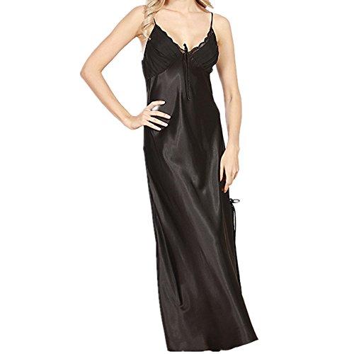 Women Nightgown Sleepwear Sleep Maxi Dress Silky Soft Sleeveless Halter Lace Gown (Black, XL)
