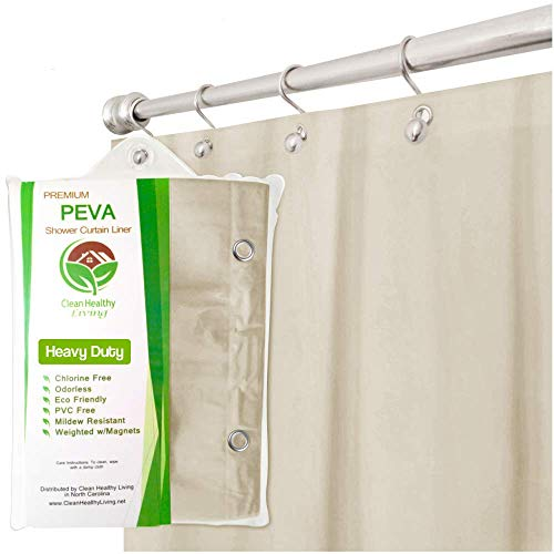 Clean Healthy Living Heavy Duty PEVA Shower Liner/Curtain: Odorless & Anti Mold (with Magnets & Suction Cups). Its 70 x 71 in. Long and Heavy Weight - Tan Color