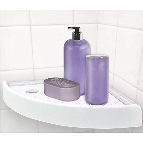 Bath and Shower Corner Press SnapUp Shelf Caddy Storage Organizer,White (1)