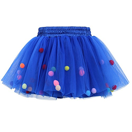 Tutu Skirt Gofriend Baby Girls Tulle Princess Dress 4 Layer Fluffy Ballet Skirt With Little Pom Pom Puff Ball  L  Dark Blue