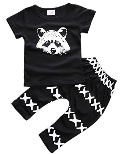 ZHUANNIAN Baby Boys Clothes 2PCS Outfit Set T-Shirt Tops with Patterned Pants(Black,6-12 Months) (Pants Shirt Pajamas)