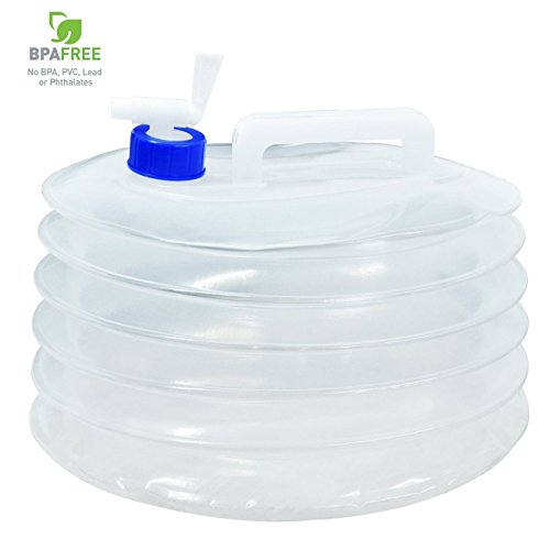 Survival or Emergency Climbing Picnic Milestone Camping Folding Water Carrier with Tap Portable Transparent for Outdoor Camping