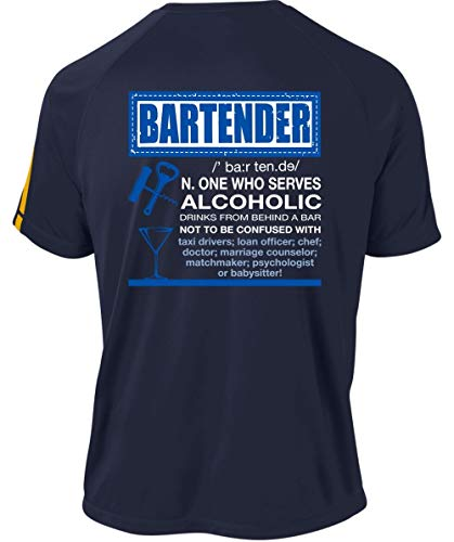 Drink from Behind A Bar Dry Zone Crew, Bartender One Who Serves Alcoholic T Shirt-Colorblock Crew (L, Navy)