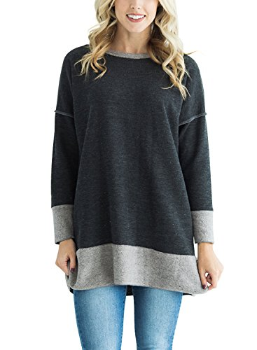 HOTAPEI Women Casual Long Sleeve Crewneck Sweatshirt Loose T Shirt Blouses Tops with Side Slit