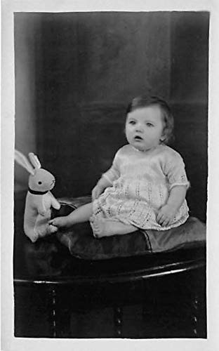 People and Children Photographed on Postcard, Old Vintage Antique Post Card Little girl with toy bunny Pencil mark on back