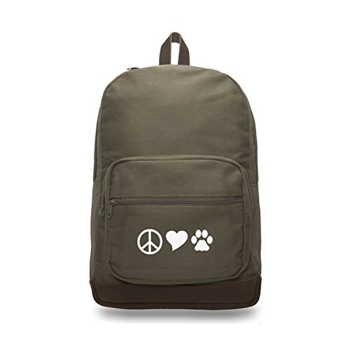 Peace Sign Heart Dog Paw Print Backpack with Leather Bottom Accents, Olive & -