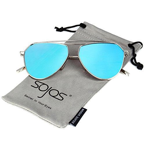 SojoS Classic Metal Double Bridge Aviator Style Flash Mirror Lenses Sunglasses SJ1040 With Silver Frame/Blue (Blue Lens)