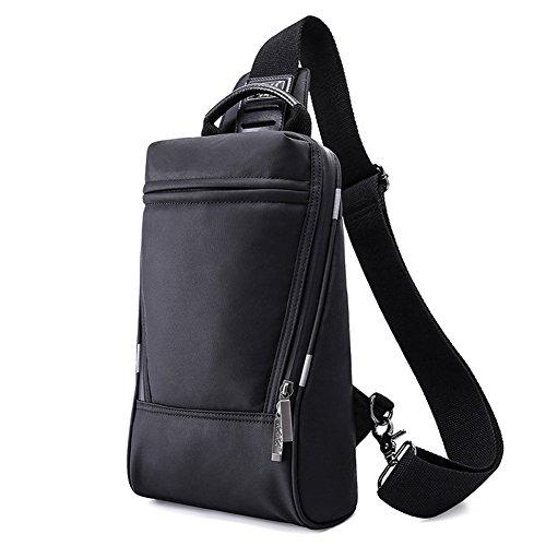 gossipboy Elegant Schwarz Wasserdicht Sling Bag Umhängetasche Nylon Brust Tasche Cycling Schultertasche Outdoor Casual Tagesrucksack 99027