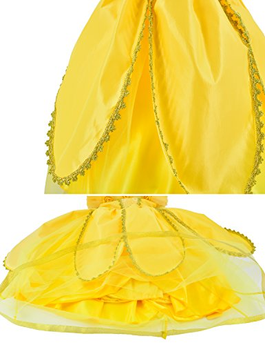 Princess Belle Costume Deluxe Party Fancy Dress Up For Girls with Accessories 10-12 Years(150cm) by Party Chili (Image #7)