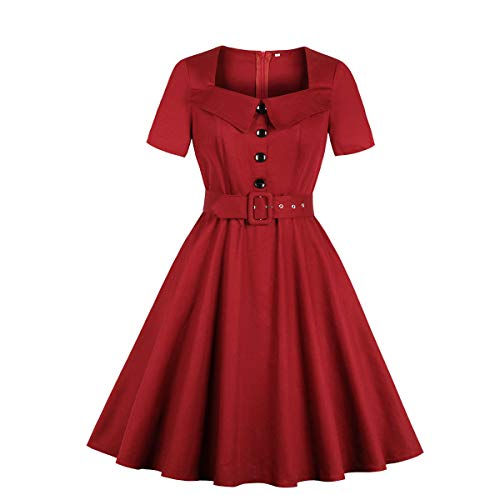 (Wellwits Women's Square Neck Collared Belted 1940s Vintage Dress Wine 2XL)