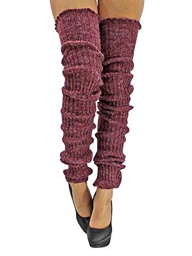 Burgundy Slouchy Thigh High Knit Dance Leg ()