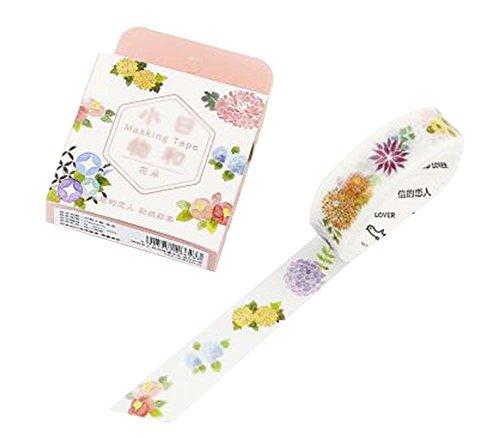 4 Pcs Paper Tape Creative Diary Decorative Tape Notebook Sticker Label, Flowers by Black Temptation