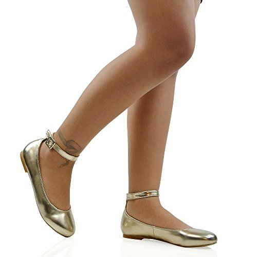 Essex Glam Women's Synthetic Ankle Strap Bridal Ballerina Pumps Shoes Gold Metallic rjkqsd