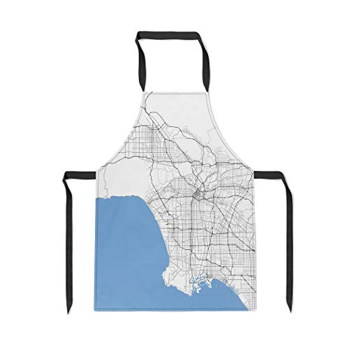 Pinbeam Apron County Map Los Angeles City California Roads Capital with Adjustable Neck for Cooking Baking Garden
