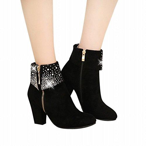 Short Shoes Charm High Boots Rhinestones Women's Carol Black Comfort Top 0CaCq