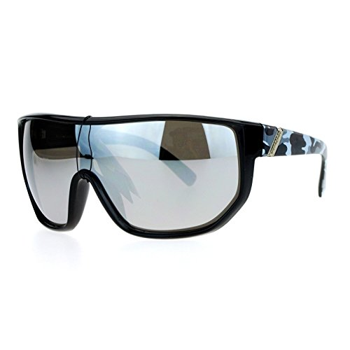 (Biohazard Oversize Shield Mirror Lens Mens Gangster Sunglasses Grey Camouflage )