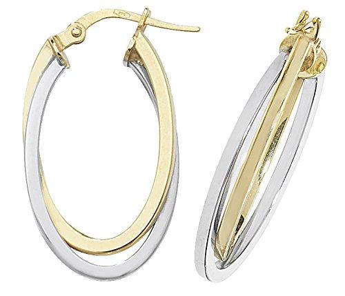9ct or Boucles d'oreilles créoles Femme-Or jaune et blanc ovale