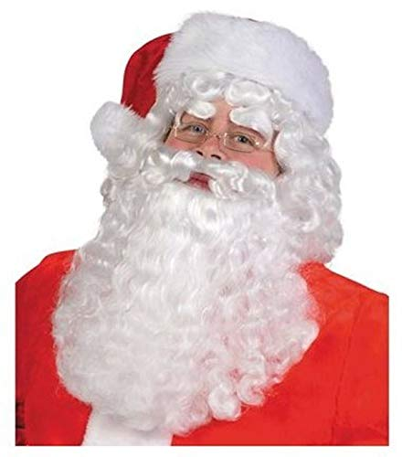 Santa Claus Costume for Adults-Includes Wig Beard & Red Santa Hat For Christmas -