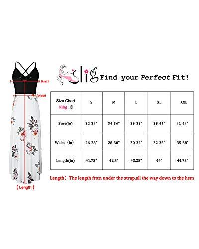 KILIG Women's V Neck Sleeveless Asymmetrical Patchwork Floral Maxi Dresses (Floral-3,XL)