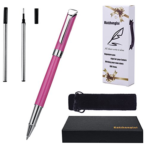 Ballpoint pen with Gift box Writing set Aircraft Grade Metal Material Fashion collection with 2 Extra Stainless Steel Fine Refill (991 Pink)