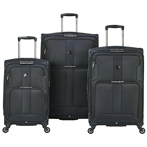 Delsey Luggage Sky Max 3 Piece Spinner Luggage Set, Black