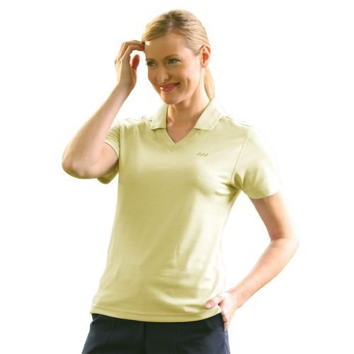 (Monterey Club Ladies' Dry Swing Textured Tonal Striped Shirt #2067 (Butter,Small))