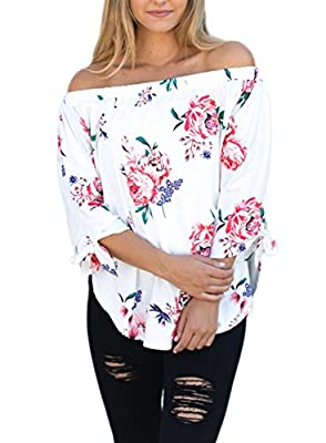 AlvaQ Women Chiffon Off Shoulder 3/4 Sleeve Cuffed Floral Print Tops ( 7 Colors , S-XXL)