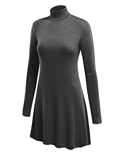 WT992 Womens Long Sleeve Turtleneck Sweater Tunic With Various Hem M Heather_Charcoal ()