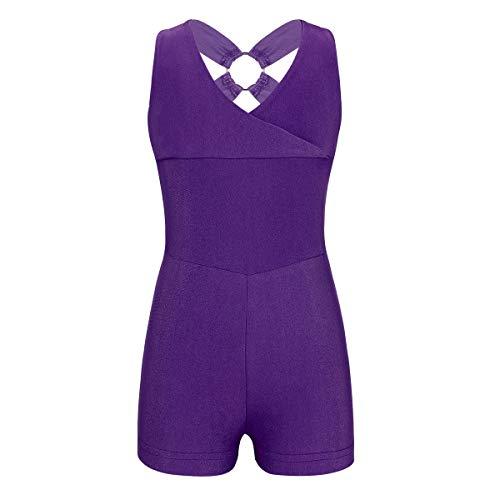 Agoky Kids Girls Sleeveless Crisscross Back Ballet Dancewear Gymnastics Leotard Biketards Purple 4-5 ()