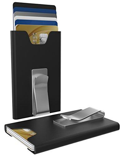 WAVES WALLET Kartenetui mit Geldklammer und RFID Schutz (Schwarz)