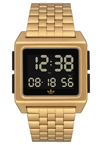 Adidas Watches Archive_M1. Mens 70s Style Stainless Steel Digital Watch with 5 Link Bracelet (Gold/Black. 36 mm).