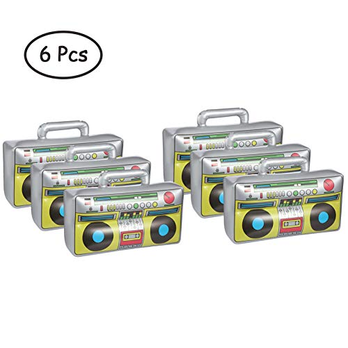 6 Pcs Inflatable Boombox Toy, 80's 90's