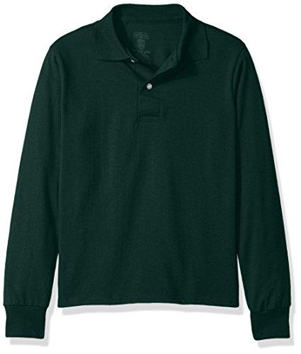 Jerzees Boys' Big Spot Shield Long Sleeve Polo Sport Shirt, Forest Green, Medium