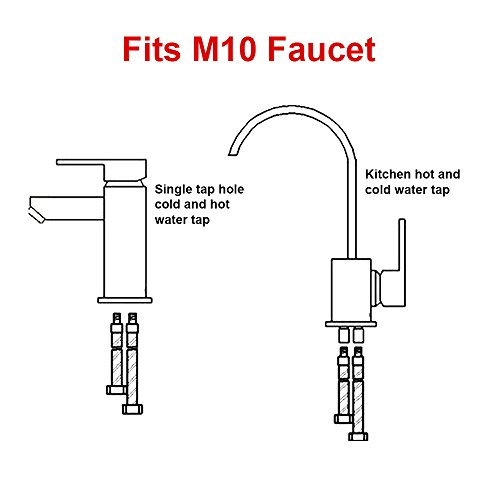 HOMEIDEAS 40-inch Faucet Connector 3/8-Inch Female Compression Thread x M10 Male Braided Stainless Steel Supply Hose Connector Replacement Pack of 2(1 Pair) by HOMEIDEAS (Image #2)
