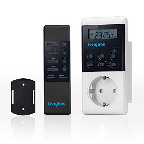 Jerrybox Funksteckdose mit Zeitschaltfunktion, Smart Home Kabelloser Elektrischer Steckdosenschalter mit Fernbedienung, Multifunktionale Steckdose für Haushaltsgeräte