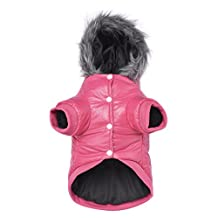 Namsan Pet Puppy Dog Clothes Waterproof and Windproof Hoodie Winter Warm Apparel Coat Outwear -Pink -Medium