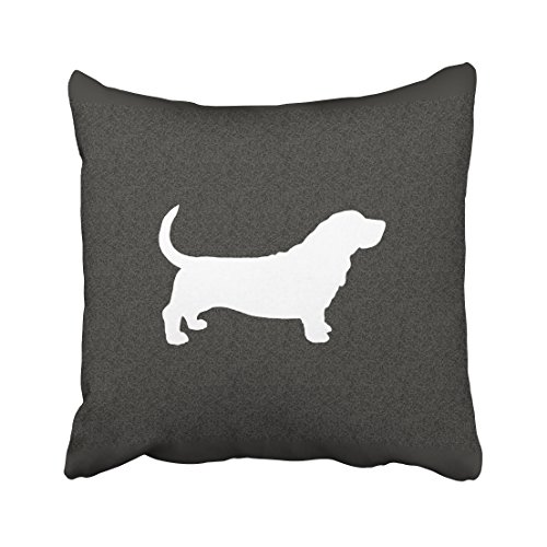 Accrocn Throw Pillow Covers Basset Hound Dog Silhouette Black And White Lumbar Pillow Decor Cushion Decorative Pillowcases Polyester 18 x 18 Inch Square Pillowcase Hidden Zipper