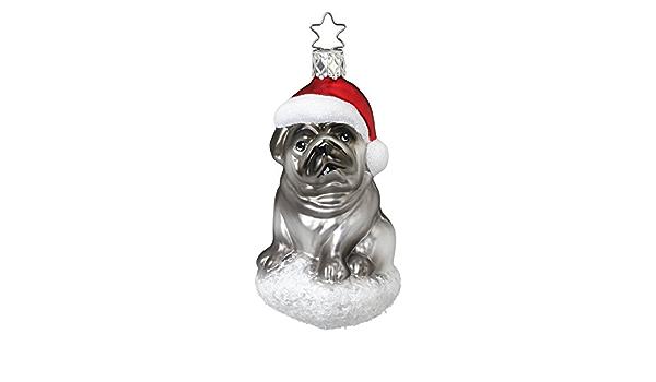 Inge Glas Dog Woof 1-039-04 German Blown Glass Christmas Ornament Gift Box