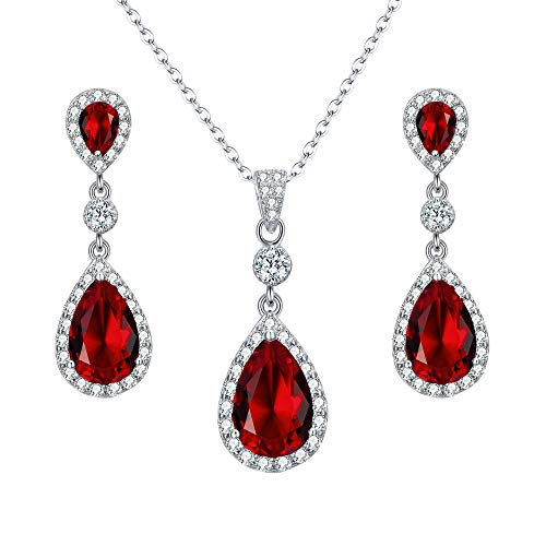 EleQueen 925 Sterling Silver Full Cubic Zirconia Teardrop Bridal Pendant Necklace Dangle Earrings Set Ruby