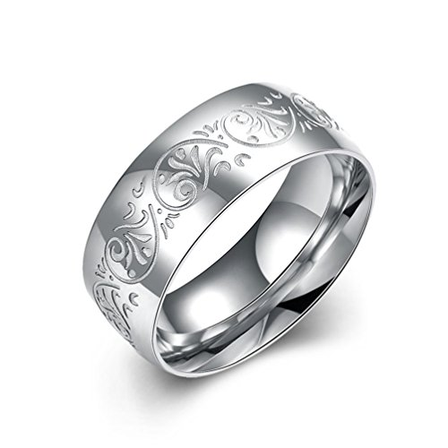 HMILYDYK 8MM Stainless Steel Ring With Engraved Florentine Design Sizes 7 to 10, Fits Women/Men (Size 8)