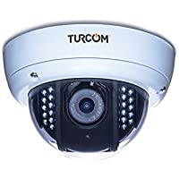 Turcom TS-612 Dome Security CCTV Surveillance Camera IR Cut Filter High Definition 1920x1080 Weatherproof, Night Vision, Fully Adjustable, Clear and White