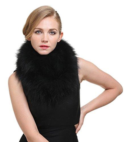 - Vogueearth Women 2 Material Choose Winter Neck Warmer Fur Scarf Fox Black