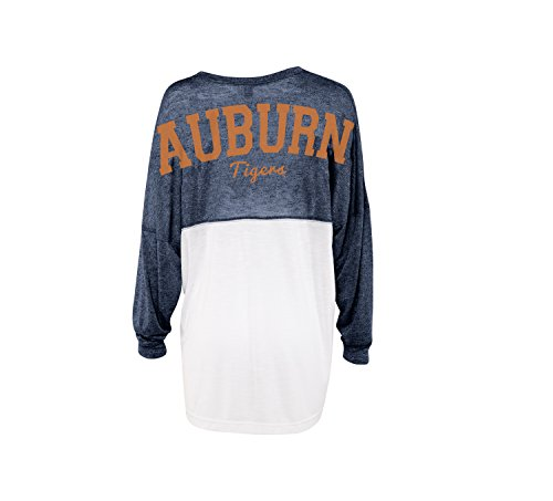 chicka-d Auburn University NCAA Women's Colorblocked Varsity Jersey- Auburn Tigers Women's Apparel - Extra Large -